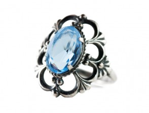 Antique silver ring with blue gem