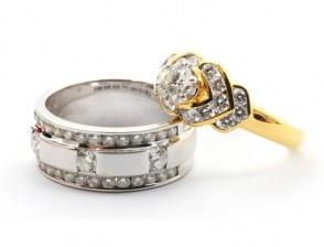 Golden silver wedding rings
