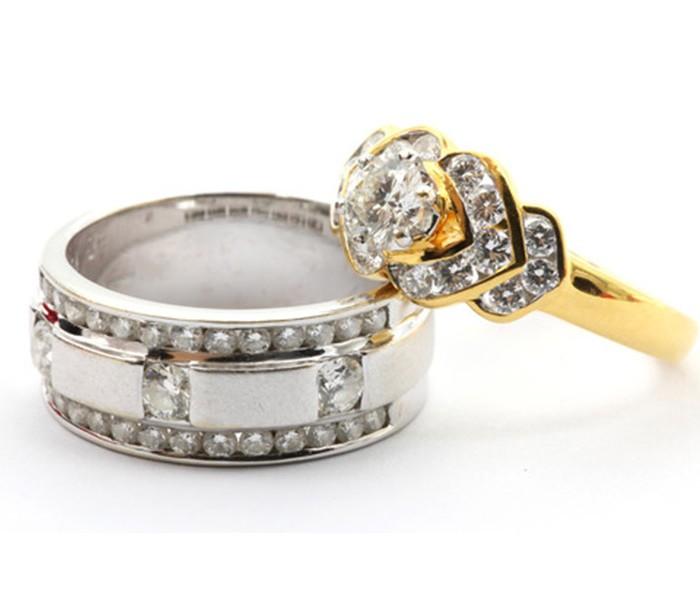 Golden silver wedding rings