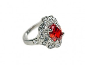Silver Ring with red Jewel